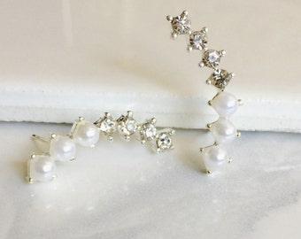 Silver Pearl Stud Earrings, Crystal Earrings, Romantic Earrings