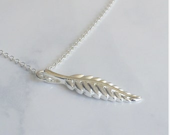 Silver Feather Necklace, Simple, Delicate, Bohemian Necklace