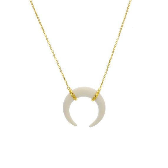 Crescent Horn Necklace: Double Horn Necklace Crescent Moon Necklace Gold Crescent