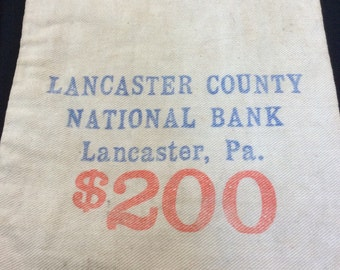 Vintage Bank Money Bag, Antique Coin Deposit Bag, Lancaster County National Bank Pennsylvania