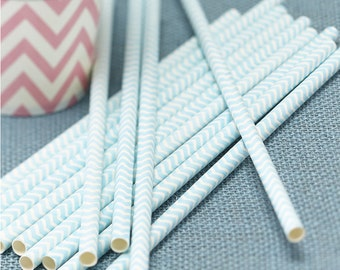 Powder Mint Green Paper Straws - Chevron Divine Party Tableware Accessories Party Supplies