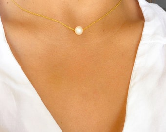 Pearl Necklace - Sterling Silver, Pearl Pendant Necklace, Single Pearl Necklace. Bridesmaid Pearl Necklace, Silver Gold and Pearl Necklace
