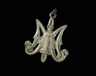 antique ave maria medallion
