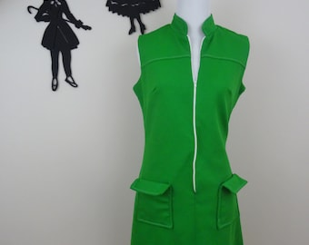 Vintage 1960's Zip Front Dress / 60s Polyester Green Dress M  tr