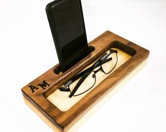 Monogrammed Docking Station, iPhone Dock, Monogrammed Gift, Personalized Gift, Anniversary Gift, Nightstand Organizer, Tech Organizer