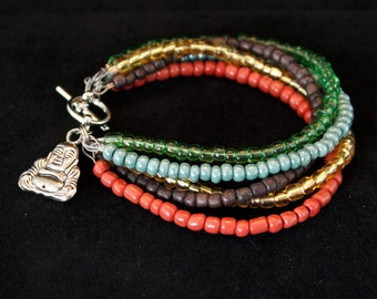 Handcrafted jewelry, 5 strand layering bracelet
