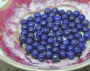 Lapis Lazuli 6mm Lapis Beads / Lapis Beads Top Quality Pyrite Inclusions / Lapis Lazuli Rounds / 8 bead set