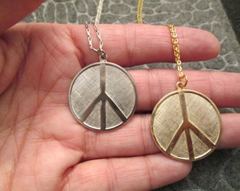 "ORIGINAL ""PEACE SIGN"" necklace>> 1960's Vintage >new old stock, larger size>>>Silver or Gold, your choice"