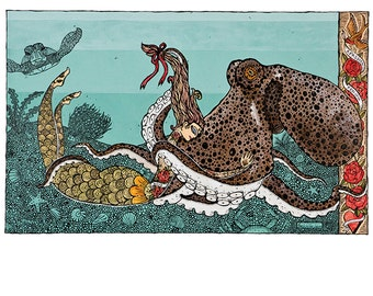 Octopus and Mermaid Art Print A Passion For Ink 12 x 16 Tatoo Art