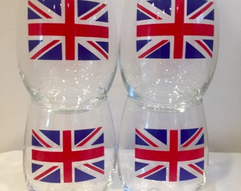 Union Jack Wine Glasses