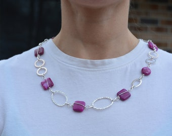 Pink Stone and Silver Necklace