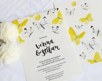 Hochzeitseinladung - Handlettering & Schmetterlinge // A5