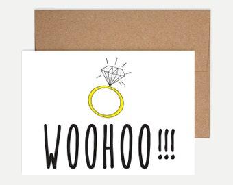 Lustige Engagement Card - Woohoo!!!