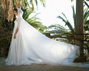 Wedding bridal cloak white ivory cream vanille chiffon (polyester) cape with hood handfasting Medieval Wedding Cape