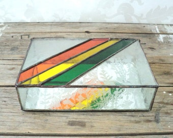 Stained glass Jewelry box, rainbow, green, yellow, orange, with mirror in the bottom, display case, trinket holder