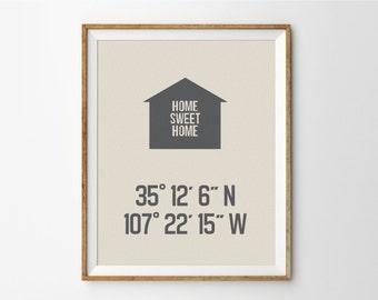 Custom Latitude Longitude Print, Home Sweet Home, Personalized Housewarming Gift, Wedding Gift, Gift For Couple, New Home Print, Entryway
