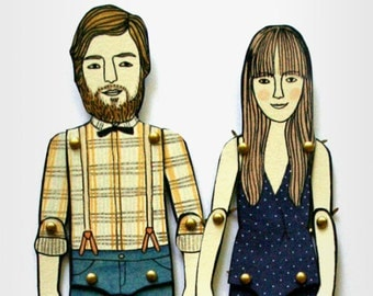 Paper Doll Portrait  — Custom Order (please read 'item details' before purchase)