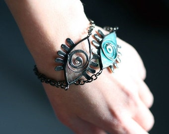 Blue Eye Bracelet, Evil Eye, Amulet Jewelry, Unique Gift, Statement, Lucky charm Turquoise bracelet, Friendship bracelet, Welfare money