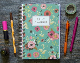 Painted Florals Teal Daily Planner - Super-Thick (390 Pages) / Medium / Pick Your Starting Month
