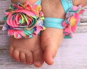Hawaiian Paradise Barefoot Sandals - Newborn Baby Barefoot Sandals - Newborn Clothing- Baby Clothing Photography Prop Toddler Tropical
