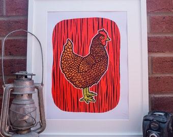 Chicken Red - A3+ Screen Print