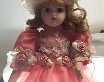 Pink Dress with Rosettes - UNKNOWN doll from The Hamilton Collection circa 1990