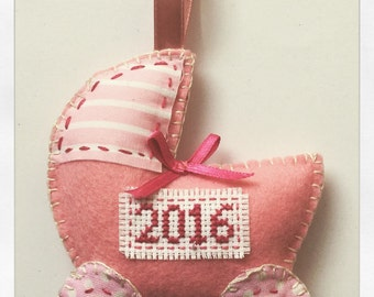 Felt hanging baby pram for 2016 in pink nursery decor