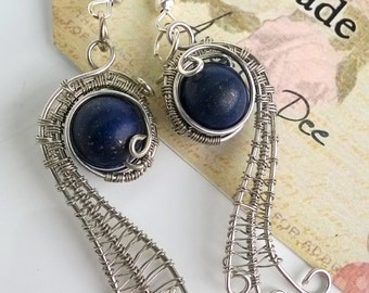 Lapis Lazuli earrings wrapped in silver plated wire