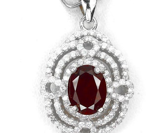 Mozambique Garnet and cz sterling silver necklace