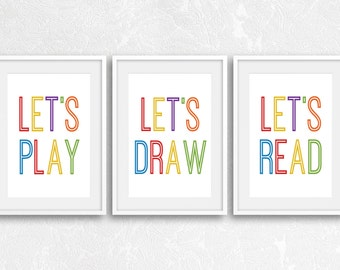 Playroom Decor, Playroom Wall Art, Playroom Prints, Let's Play, Let's Read, Let's Draw, Playroom Artwork, Kids Room Wall Art, Nursery Decor