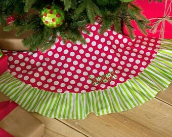Christmas Tree Skirt, Monogrammed Tree  Skirt, Monogrammed Christmas Tree Skirt, Personalized Tree Skirt, Polka Dot Christmas Tree Skirt