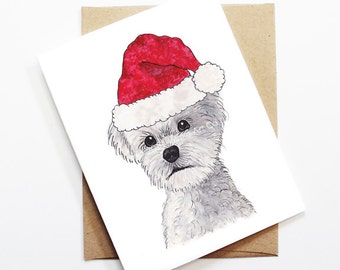 Christmas Card - Maltese, Dog Christmas Card, Cute Christmas Card, Holiday Card, Xmas Card, Seasonal Card, Christmas Card Set