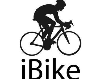 Decal vinyl Sticker Bicycle cycling iBike. Car, window, bumper, laptop and bumper custom decoration. Stickerize yourself!