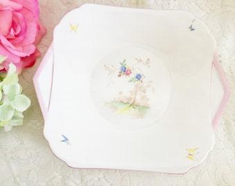 Shelley Cake Plate - English Cake Plate, Pretty Cake Plate, Wall Plate, Snack Plate, Vintage Cake Plate