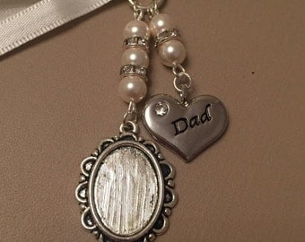 Bridal Bouquet Oval Photo Memory Charm Wedding Swarovski Beads Dad
