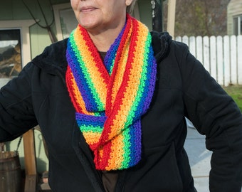 Rainbow infinity scarf, crochet