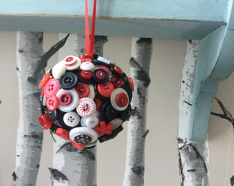 Valentine's Day Home Decor, Red White and Black Button Ball, Wedding Favor,