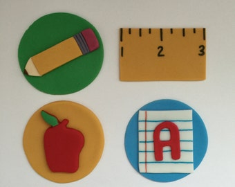 12 School Themed Cupcake Toppers-Fondant