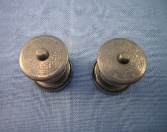 Push Button Release, Snap Together Cuff  Links, Stamped Silver Metal, Greek Key Border, Tight Closure, 1920s-1930s, Gatsby Era Cufflinks
