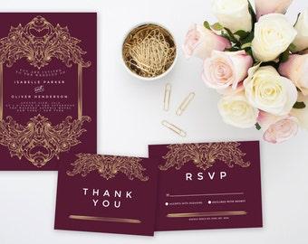 Golden Emblem Wedding Invitation Suite | Printable