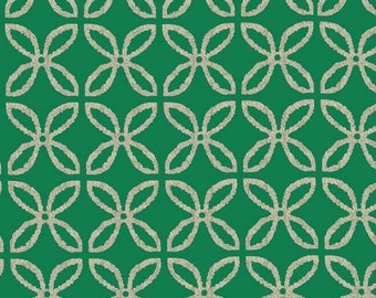 QUILTING COTTON: Michael Miller Metallic Clover in Spearmint. Sold by the 1/2 yard