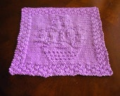Cotton Hand Knit Purple Flowerpot Dish Cloth or Wash Cloth
