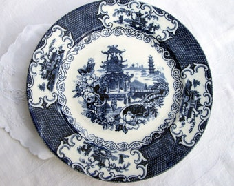 """Allertons Blue Transferware 9"""" Plate """"Chinese"""" Pattern - England"""