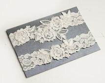 Light Ivory Beaded Lace Wedding Garter,One Piece Lace Garter,Keepsake Garter, Toss Garter, Customizable Handmade