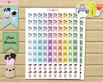 Makeup kawaii brushes Printable planner stickers for your life planner.
