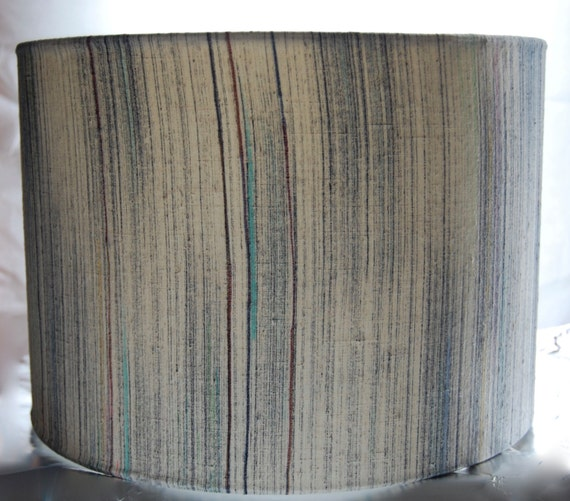 Cream Silk Lamp Shade, 30cm/ 12 inch Drum Lamp Shade Covered with Vintage Kimono Silk