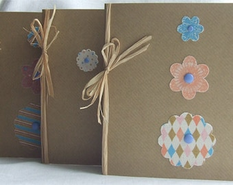 handmade greeting cards/ birthday card/note card/thank-you card/flower card/kraft card & envelopes/natural/fabric flowers/raffia/set of 3