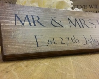 Handmade Personalised Mr and Mrs Wedding Gift Family Sign Plaque Rustic Shabby Chic