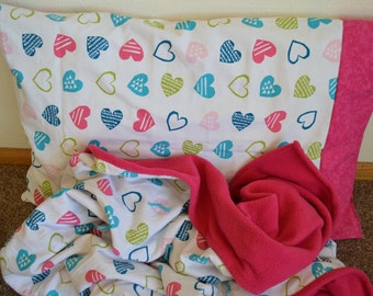 Heart Blanket and Pillowcase Bedding Set, Multi Color Hearts, Pink Bedding, Girl Bedding Set, Hand Tied Quilt, Proceeds to Charity