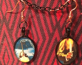 House on Haunted Hill Resin Pendant Earrings Vincent Price Horror